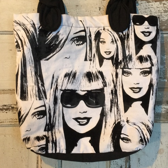 NEW AWESOME Barbie doll  BLACK  HANDBAG WITH FLAMES ON IT